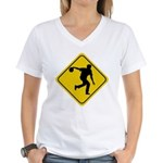 Bowling Crossing Sign Women's V-Neck T-Shirt