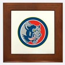 Angry Wolf Wild Dog Head Circle Retro Framed Tile