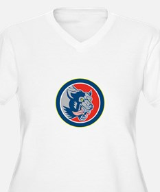Angry Wolf Wild Dog Head Circle Retro Plus Size T-