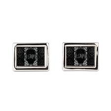 Black Grey Damasks Frame Rectangular Cufflinks