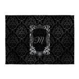 Black and grey damask 5x7 Rugs