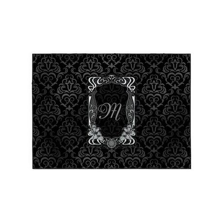 Black Grey Damasks Frame 5u0027x7u0027Area Rug