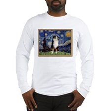 Starry Night Australian Shepherd Lg Sleeve T-Shirt