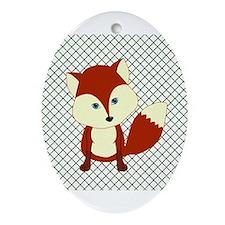 Fox on Green and White Lattice Ornament (Oval)