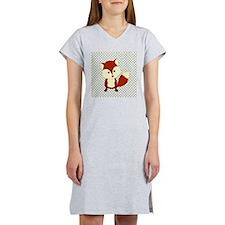 Fox on Green and White Lattice Women's Nightshirt