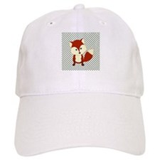 Fox on Green and White Lattice Baseball Baseball Cap