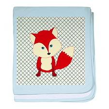 Fox on Green and White Lattice baby blanket