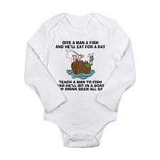 FIN-teach-man-fish-... Long Sleeve Infant Bodysuit
