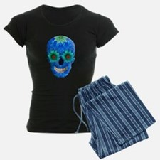 Blue Day Of The Dead Skull Pajamas