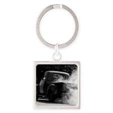 Vintage Truck Hot Smoking Tires Square Keychain