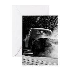 Vintage Truck Hot Smoking Tires Greeting Card