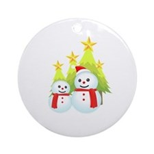 Christmas Decorated Tree Snowman Ornament (Round)