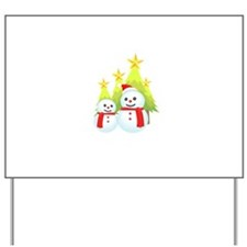 Christmas Decorated Tree Snowman Yard Sign