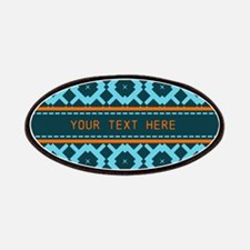 Navy Blue Orange Pattern Personalized Patches