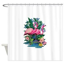 RETRO FLAMINGO Shower Curtain