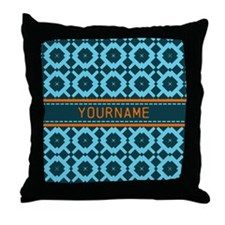 Navy Blue Trellis Pattern Personalize Throw Pillow