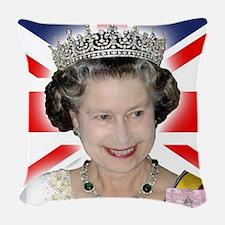 HM Queen Elizabeth II Woven Throw Pillow