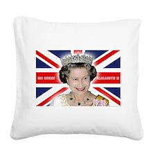 HM Queen Elizabeth II Square Canvas Pillow