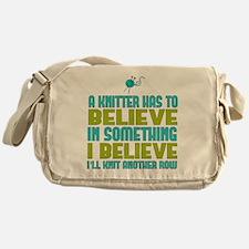 I Believe I'll Knit Messenger Bag