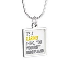 Its A Clarinet Thing Silver Square Necklace