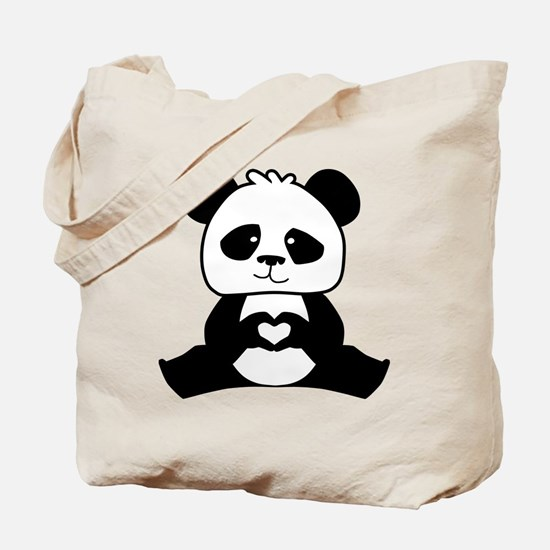 Panda's hands showing love Tote Bag
