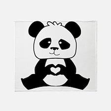Panda's hands showing love Throw Blanket