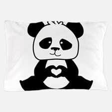 Panda's hands showing love Pillow Case