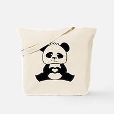 Panda's hands showing love Tote Bag
