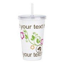 Custom add text flower Acrylic Double-wall Tumbler