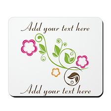 Custom add text flowers Mousepad
