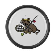 Tennis Dog Large Wall Clock