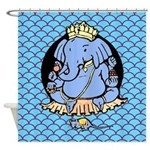 Ganesh Blue Shower Curtain