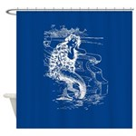 Mermaid On Deep Blue Shower Curtain