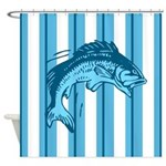 Jumping Fish On Blue Stripes Shower Curtain