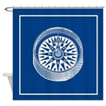 Nautical Compass On Blue Shower Curtain