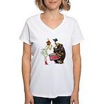 Drumming Bear Women's V-Neck T-Shirt