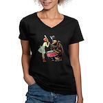 Drumming Bear Women's V-Neck Dark T-Shirt