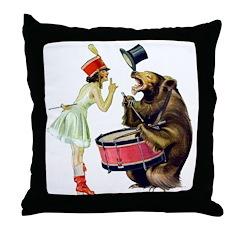 Drumming Bear Throw Pillow