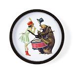 Drumming Bear Wall Clock