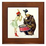 Drumming Bear Framed Tile