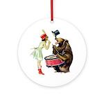 Drumming Bear Ornament (Round)