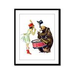 Drumming Bear Framed Panel Print