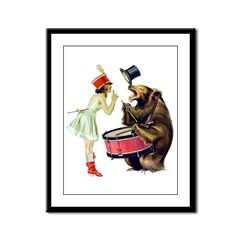 Drumming Bear Framed Panel Print