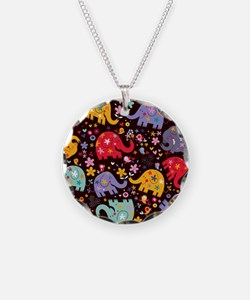 Colorful Elephants Necklace
