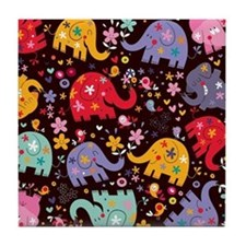 Colorful Elephants Tile Coaster