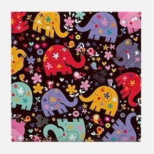 Colorful Elephants Tile Coaster