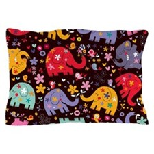 Colorful Elephants Pillow Case