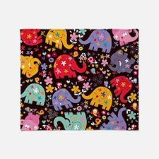 Colorful Elephants Throw Blanket