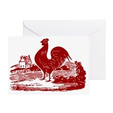 Red Farmyard Rooster Greeting Card