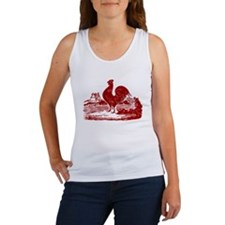 Red Farmyard Rooster Tank Top